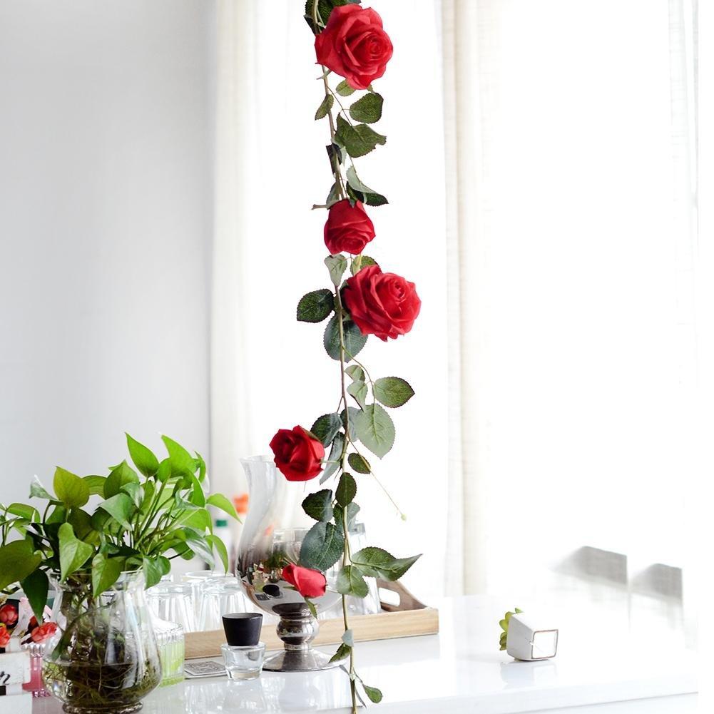 Big-time 1.8m/70.87インチ 造花 バラのつる 造花 バラの飾り 壁掛け フラワー 植物 結婚式 ホーム ホテル デコレーション シャンパン/レッド/クリーミー 180 cm レッド B07GLFWRLM レッド