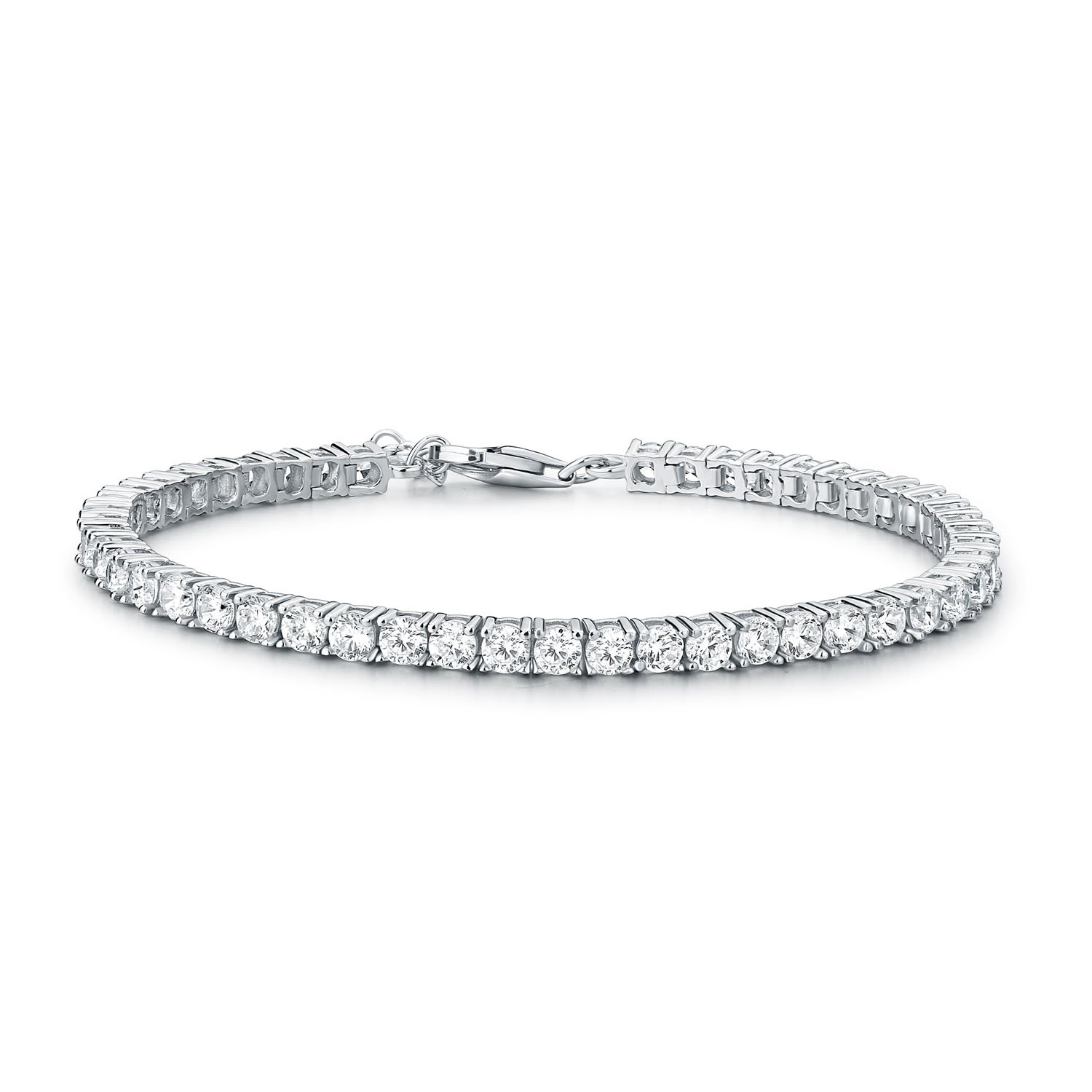 Silver Ladies Eternity Bracelet is the Perfect Jewellery Gift for Women. 925 STERLING SILVER Diamond Treats Tennis Bracelet for Women Emerald Ruby or Flawless White Cubic Zirconia 3mm Sapphire
