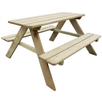 Festnight Table de Pique-Nique en Bois Table de Jardin avec bancs ...