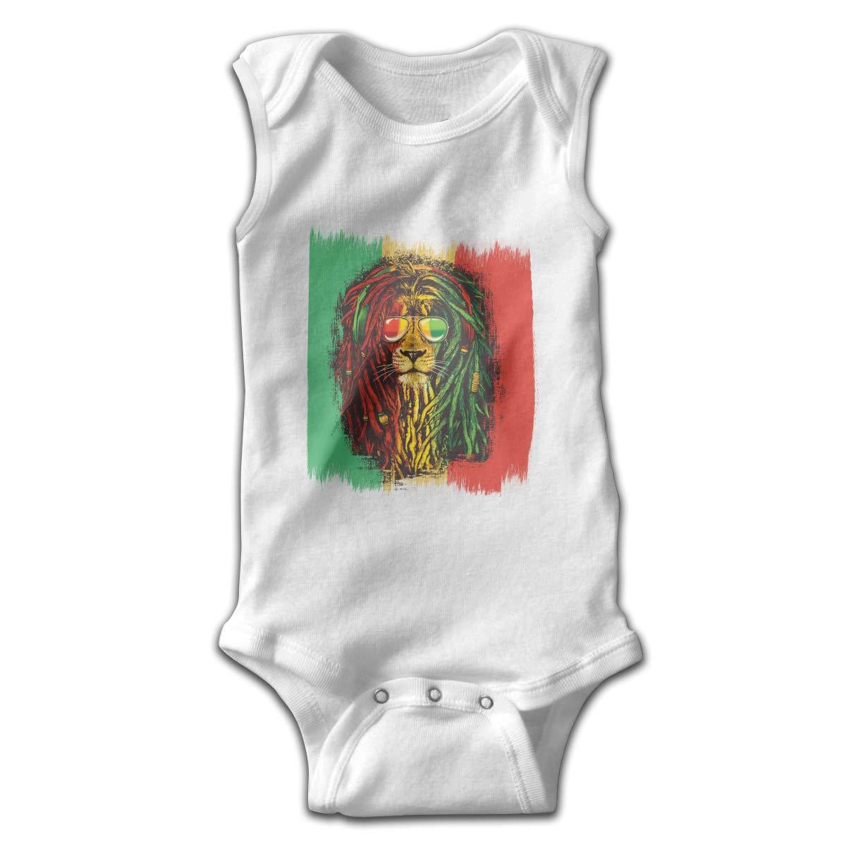 Dunpaiaa Reggae Rasta Flag Lion Newborn Crawling Suit Sleeveless Romper Bodysuit Onesies Jumpsuit Black