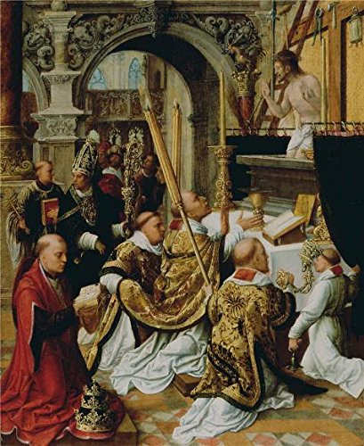 Oil Painting 'The Mass Of Saint Gregory The Great,first Half Of 16th Century By Adriaen Isenbrandt' 10 x 12 inch / 25 x 31 cm , on High Definition HD canvas prints, Bed Room, Foyer And Study R decor (Easy Halloween Crafts Third Grade)