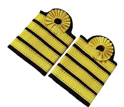 e6e05aeb452 Image Unavailable. Image not available for. Color  TZSJGL 4 Bars Gold  Stripes Epaulet Pilot Epaulettes Captain ...