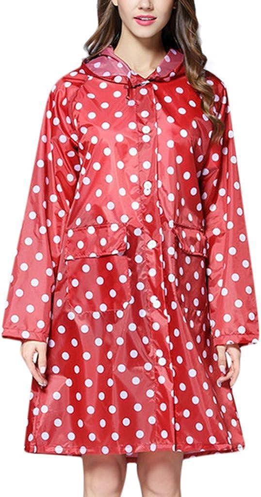 Battnot-Damen Regenmantel mit Kapuze Lange Punkt Druck Outdoor Sport /Übergangsjacke mit Tasche Frauen Regen im Freien Wasserdicht Winddicht Sonnenschutz Jacken Womens Coat Rain Jacket Outwear XL
