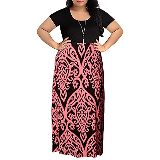3ffb2c4427d5e kaifongfu Women s Plus Size Long Maxi Dress Short Sleeve Summer Dress at  Amazon Women s Clothing store