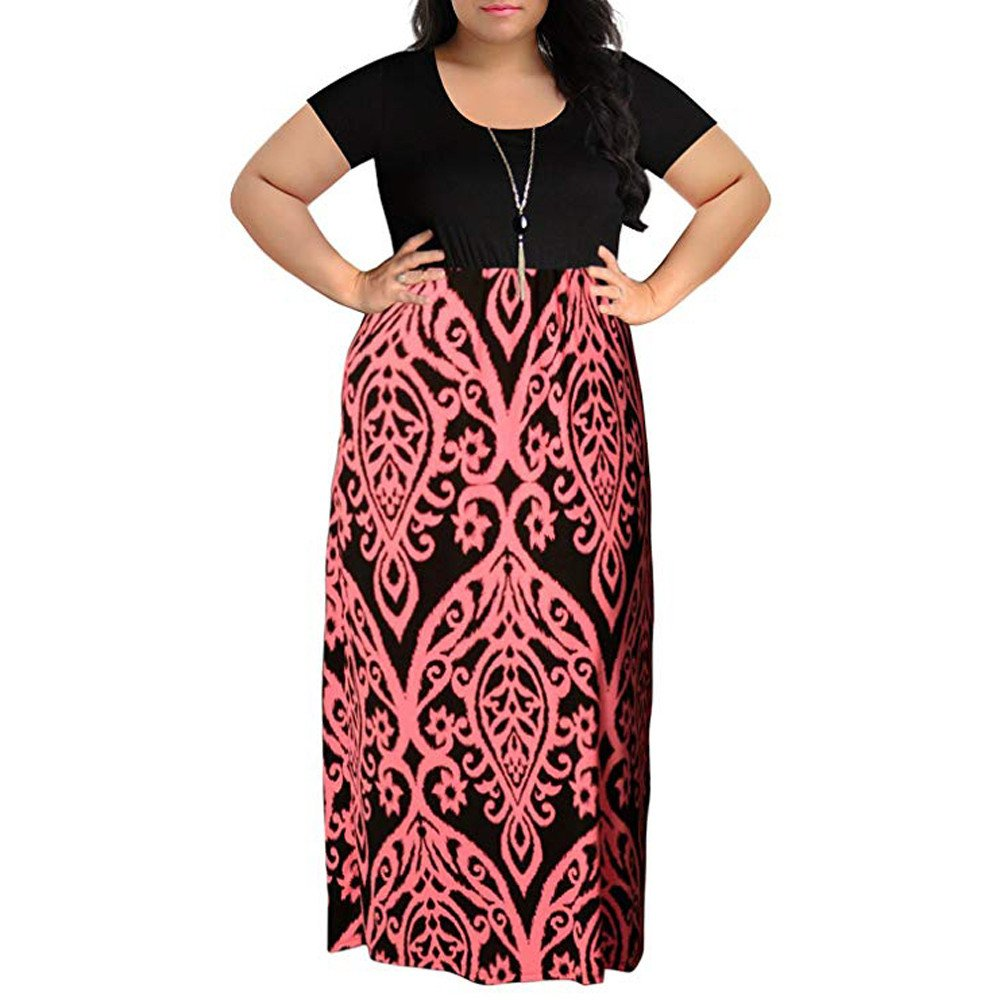 Plus Size Clothing for Women Dresses,Women's Chevron Print Summer Short Sleeve Plus Size Casual Long Maxi Dress,Pink,3XL