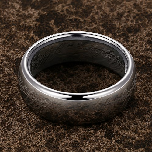 TUSEN JEWELRY Lord of The Rings Silver Color Tungsten Ring Size 7 by TUSEN JEWELRY (Image #3)