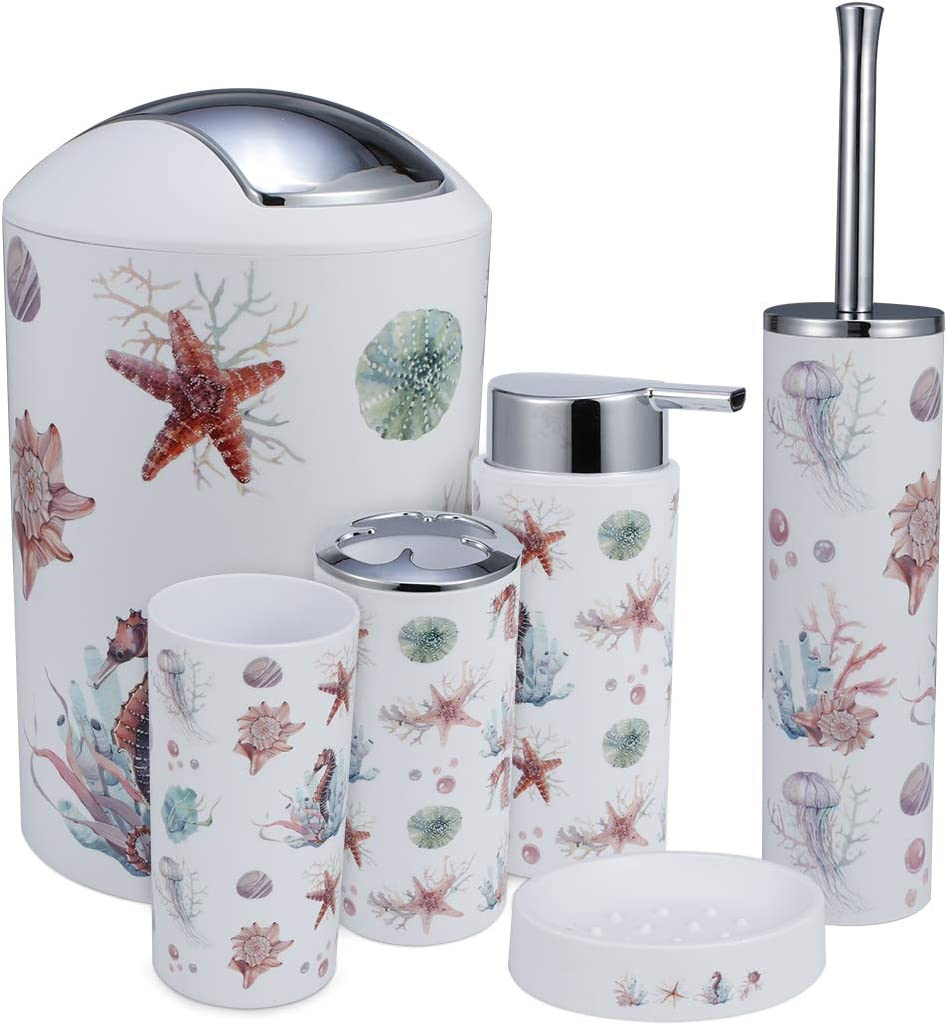 IMucci Colorful Ocean 6pcs Bathroom Accessories Set - with Trash Can Toothbrush Holder Soap Dispenser Soap and Lotion Set Tumbler Cup