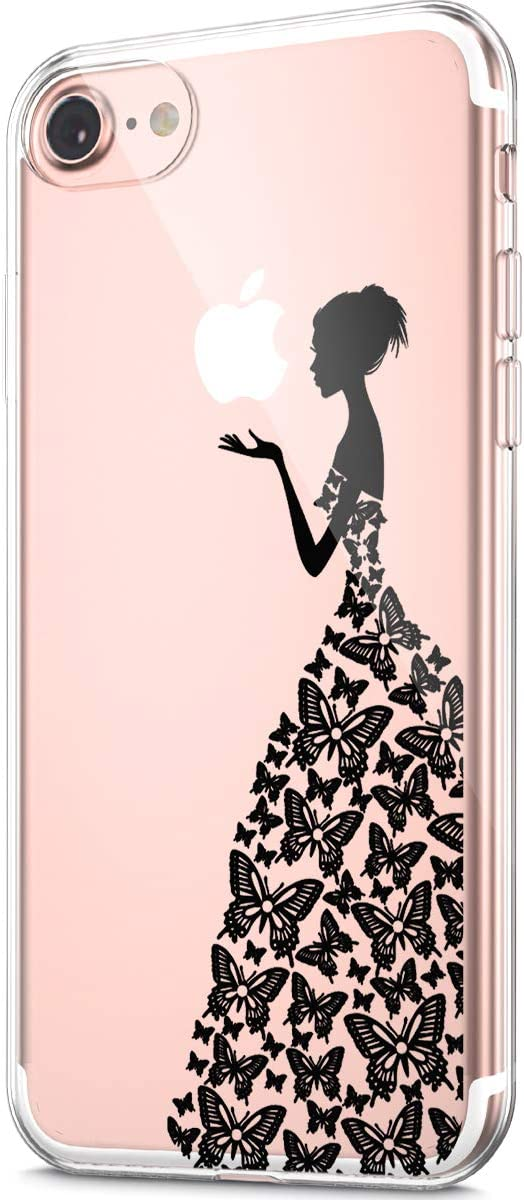 ikasus Case for iPhone 6S / iPhone 6 Case,Clear Art Panited Pattern Design Soft & Flexible TPU Ultra-Thin Transparent Flexible Soft Rubber Gel TPU Protective Case Cover,Black Butterfly Dresses Girl