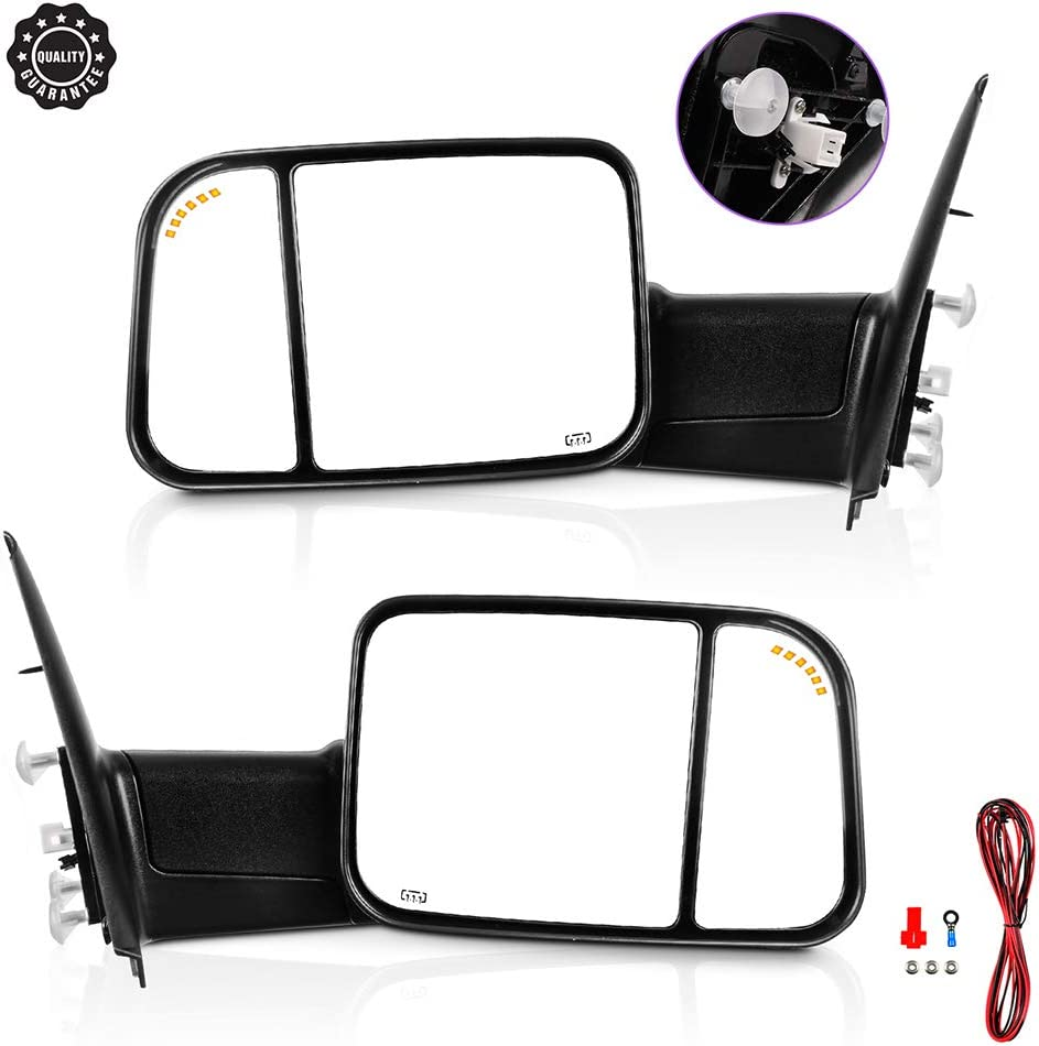 Ineedup Tow Mirrors Towing Mirrors Fit for 2002-2008 Dodge Ram 1500 2003-2008 Dodge Ram 2500 3500 with Driver Side and Passenger Side Power Control Heated LED Turn Signal Light Black Housing