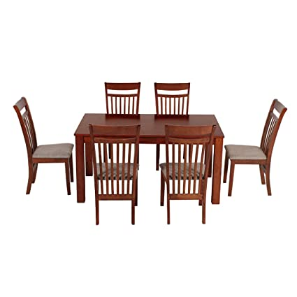 Woodness 28002+28049 6 Seater Dining Table Set (Matte Finish, Mahogany)