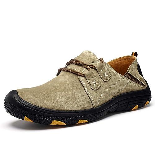 Mocasines de Cuero para Hombres Calzados Informales Calzado para Conducir Transpirable Caminar al Aire Libre Moda Oxford Senderismo: Amazon.es: Zapatos y ...