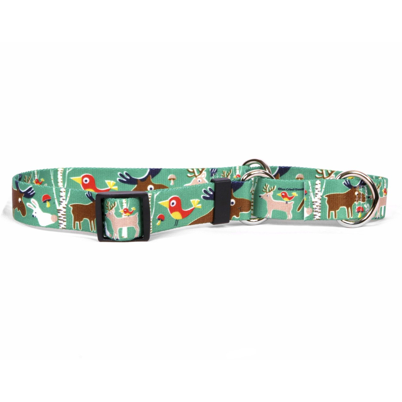 Yellow Dog Design Woodland Friends Martingale Dog Collar-Size Medium-1'' Wide and fits Neck 14 to 20''