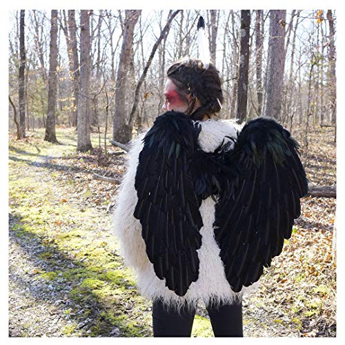 Large Black Angel Costume Wings - Dark Fairy Halloween Cosplay Feather Wing