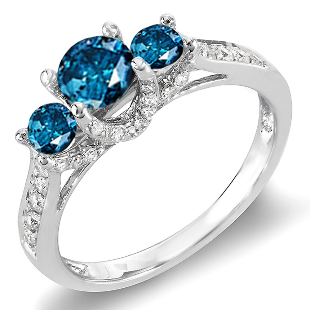 1.00 Carat (ctw) 14k White Gold Round White And Blue Diamond 3 Stone Ladies Bridal Engagement Ring 1 CT (Size 9)