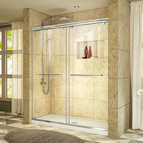 DreamLine Charisma 32 in. D x 60 in. W Frameless Bypass Shower Door in Chrome with Center Drain White Acrylic Base Kit, DL-6941C-01CL