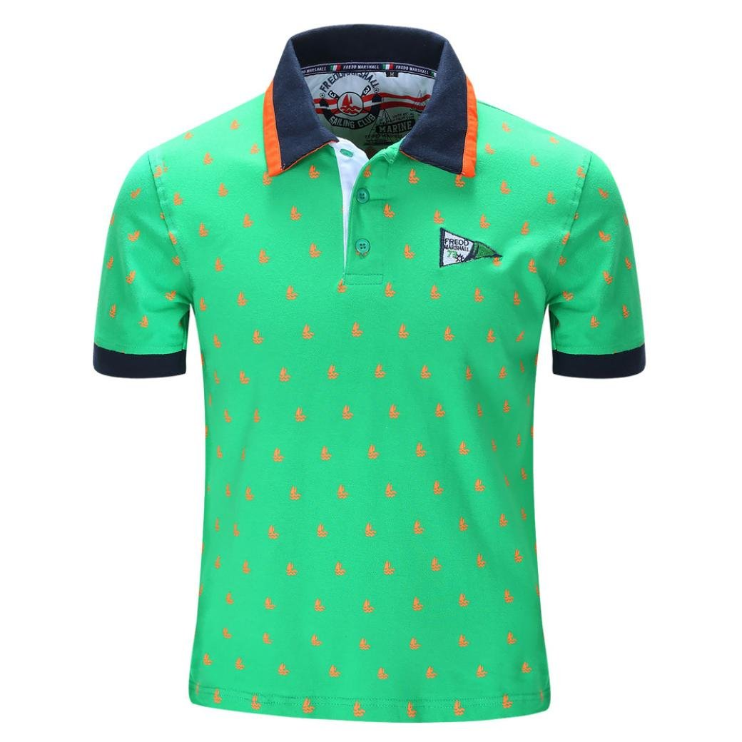 NREALY Men Block Casual Button Splicing Pullover Short Sleeve T-shirt Top Blouse Tee(Large, Green)