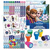 Birthday Party Favor Set for 12 - 12 Frozen Pencils, 16 Frozen Tattoos, 24 Frozen Stickers, 12 Snowflake Stampers