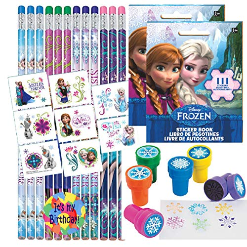 (Birthday Party Favor Set for 12 - 12 Frozen Pencils, 16 Frozen Tattoos, 24 Frozen Stickers, 12 Snowflake Stampers)