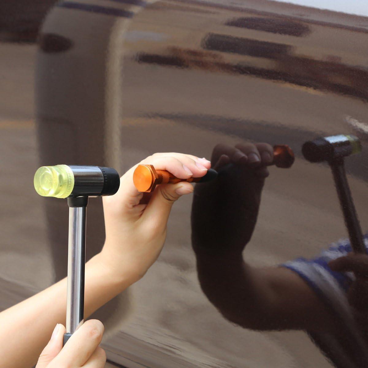 Fly5D Kit Debosselage sans Peinture,Kit de Reparation Ventouse Carrosserie la Voiture 2 en 1 Kit de Outils D/ébosselage avec 34 Languettes