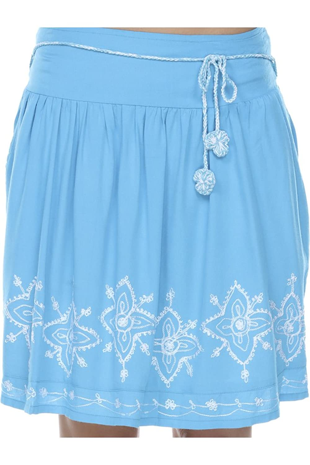 Santiki Darby Embroidered Mini Skirt With Crochet Belt - Turquoise