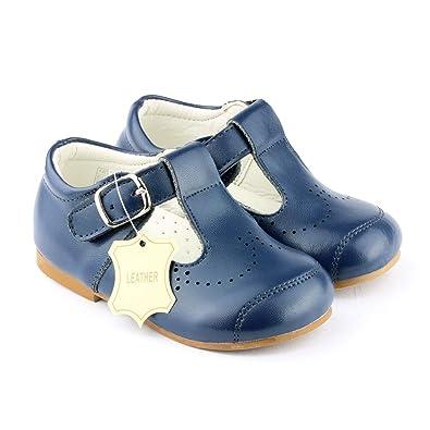 4fc68de7a46c Baby Boy Leather Spanish Style T-Bar Shoe Designer Navy or White Hard Sole  Sizes