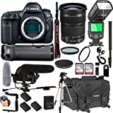 Canon EOS 5D Mark IV With 24-105mm F/3.5-5.6 IS STM Lens + 128GB Memory + Canon Deluxe Camera Bag + Pro Battery Bundle + Power Grip + Microphone + TTL Speed Light + Pro Filters,(23pc Bundle)