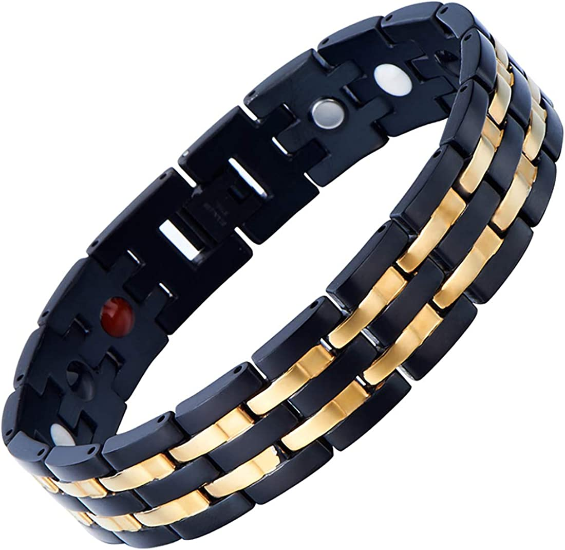 COOLSTEELANDBEYOND Exquisite Stainless Steel Mens Magnetic Bracelet Gold Black with Magnets and Free Link Removal Tool