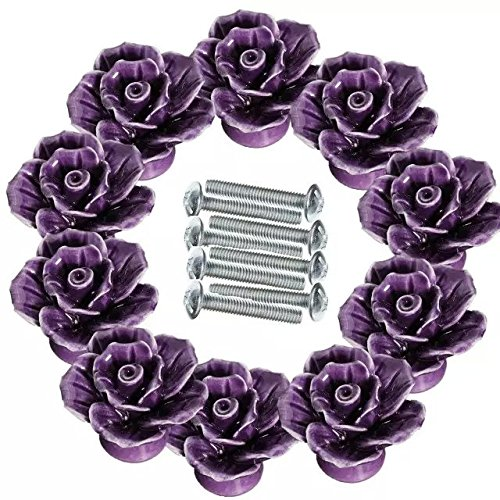 CSKB Purple 10 PCS 40mm Vintage Style Rose Ceramic Door Knob Cabinet Cupboard Knobs Round follow pattern Pull Handle Drawer Kitchen Furniture Dresser bedrooms Wardrobe Home -