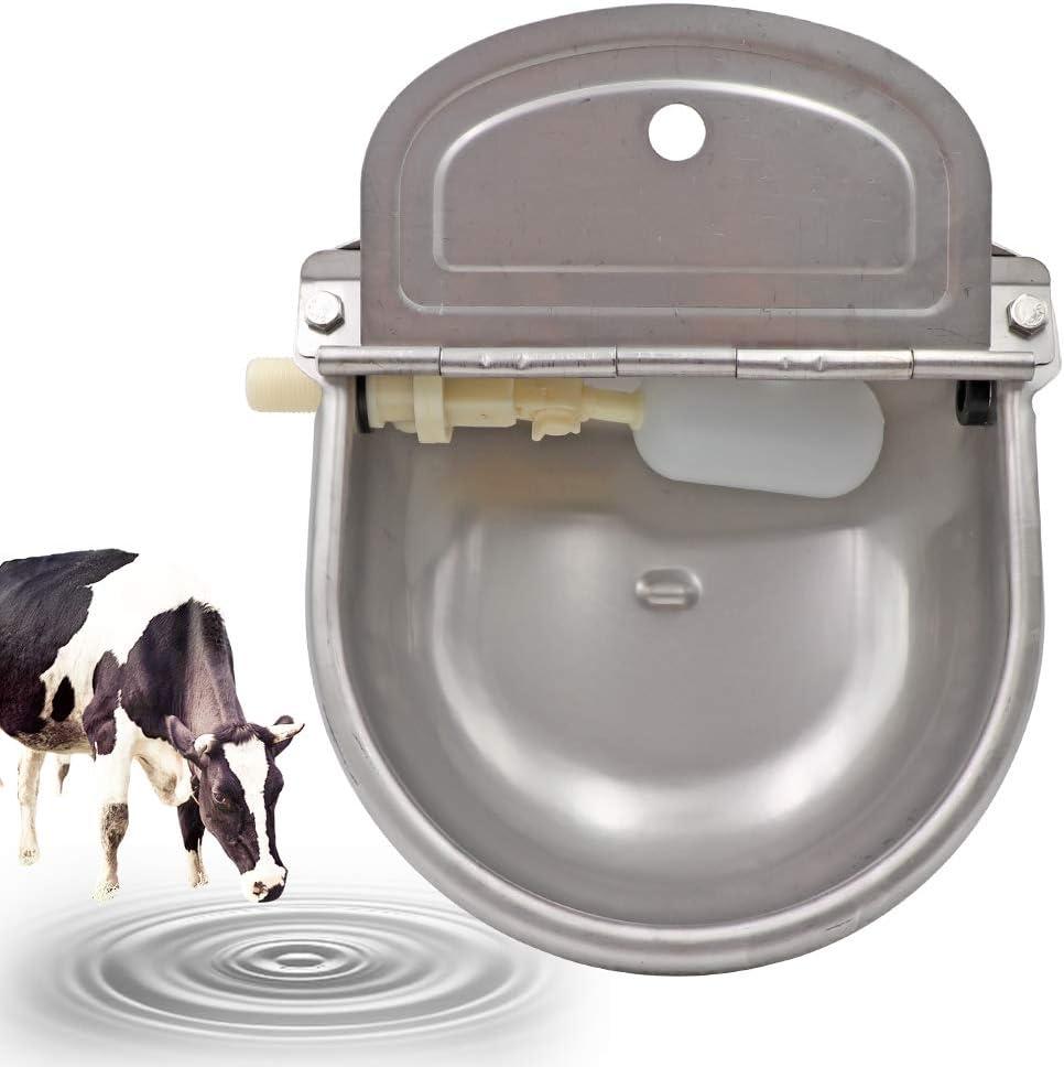PROBEEALLYU cuenco de agua automático para ganado, bebedero Cuencos de acero inoxidable para vacas, comedero para Vaca con válvula de flotador ajustable y orificio de drenaje, gran capacidad