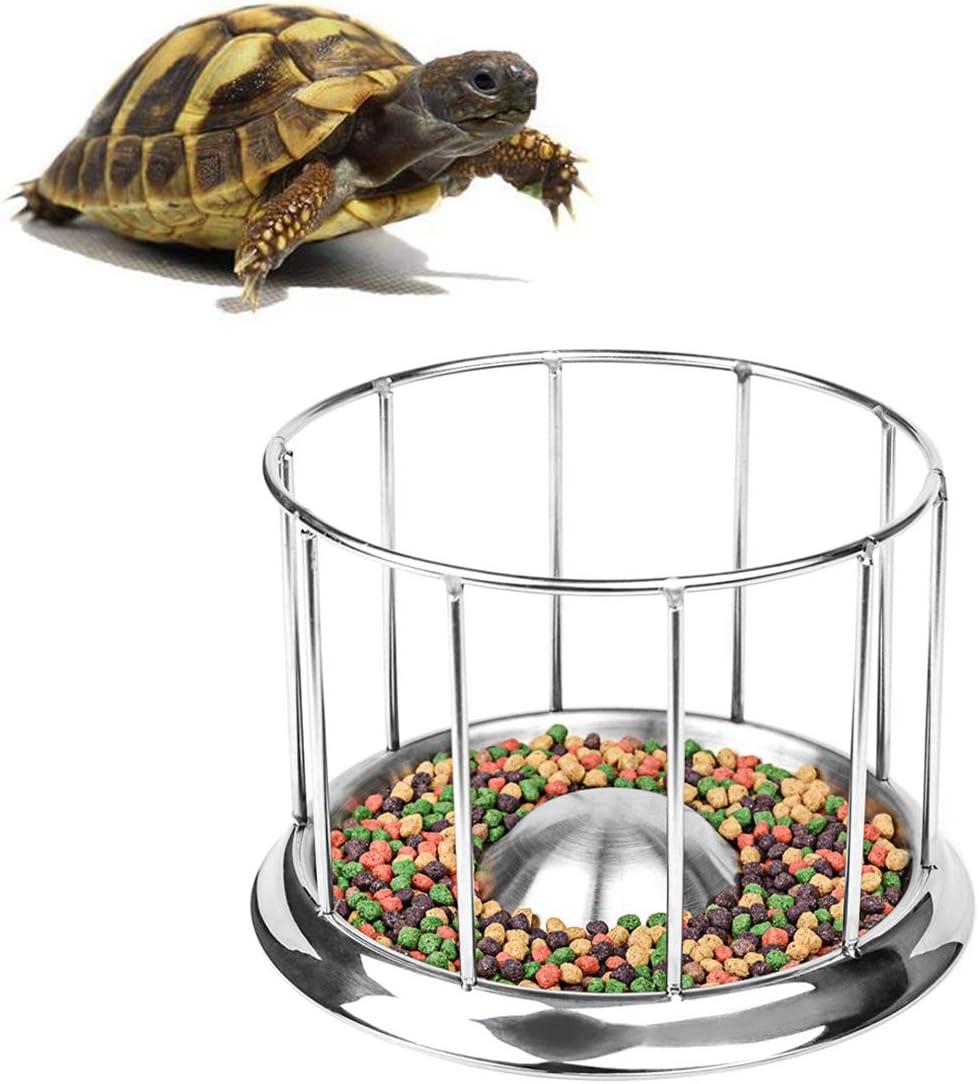 Wontee Tortoise Food Water Dish Feeder Bowl Stainless Steel Tray Dispenser for Lizard Turtle Chameleon Reptiles (S)