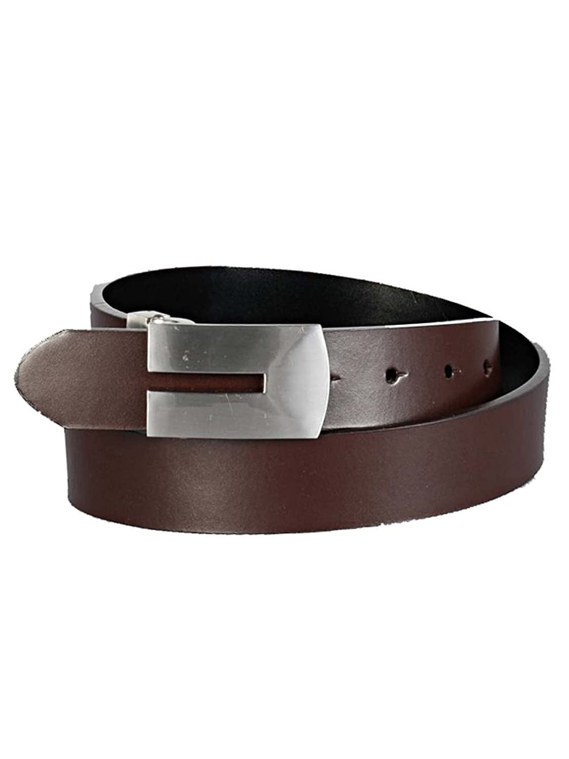 MenS Dress Belt With Cut-Out Chrome Buckle