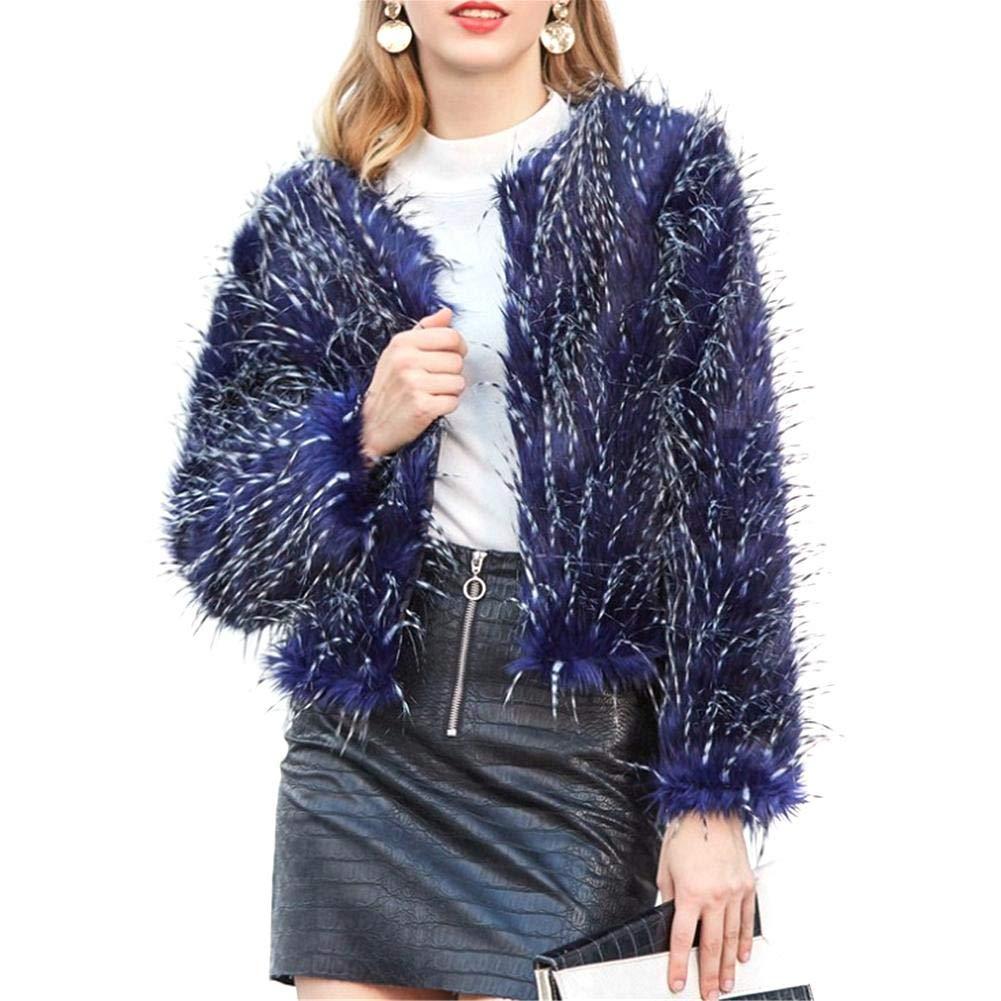 Fashion Imitation Fur Peacock Blue Fur Female Short Paragraph Plush Cardigan