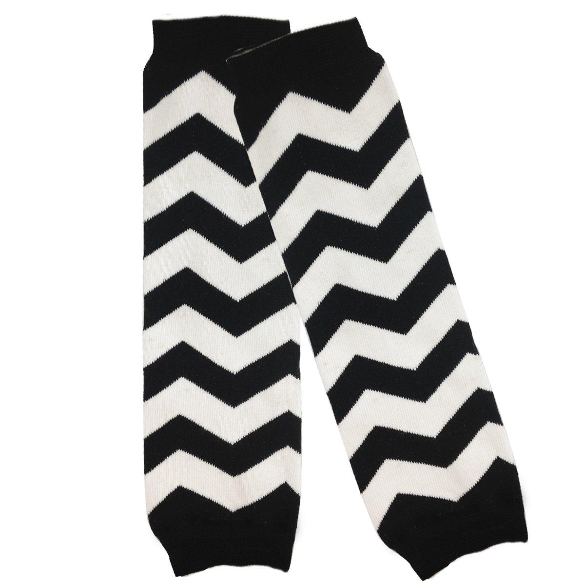 Bowbear Baby Stripes and Chevron Leg Warmers Black and White C 1002_B67156c_AFN