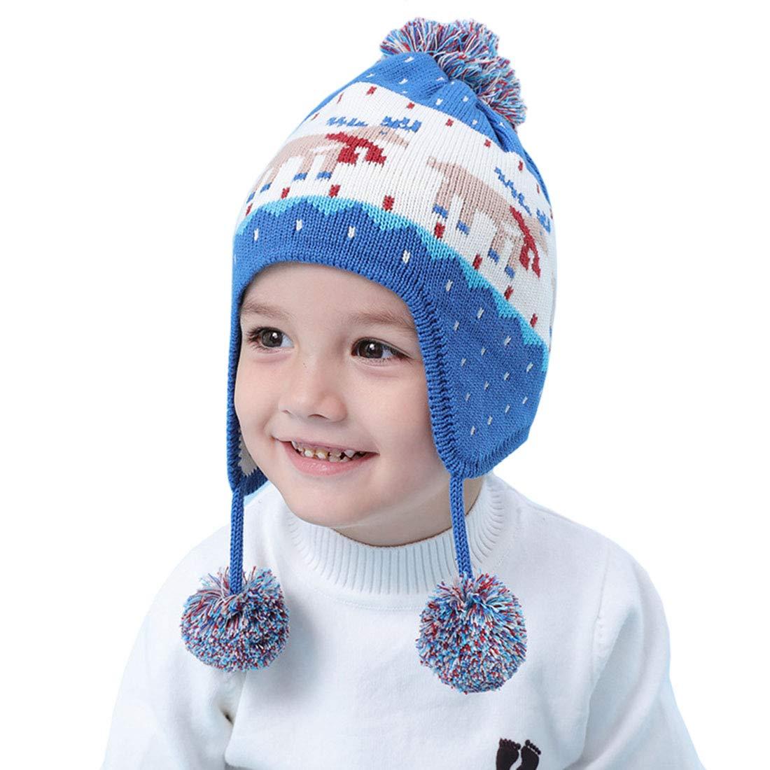 Boomly Bambino Autunno e Inverno Carino Caldo Orecchio Cappello con Paraorecchie Motivo di Jacquard Berretto in Lana a Maglia di Cotone Berretto da Sci/Snowboard per Natale