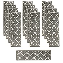 Trellisville Collection Trellis Design Slip Resistant Vibrant and Soft Stair Treads- Pack of 13 - Grey