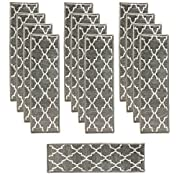 Sultansville Trellisville Collection Trellis Design Vibrant and Soft Stair Treads, Grey, Pack of 13