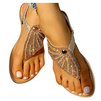 Sandals for Women Flat, Rhinestone Flat Sandals Flip Flops with Crystal Shoes for Summer Beach Holiday: Clothing