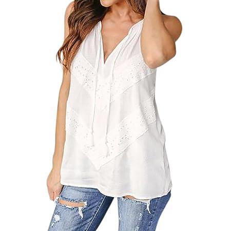 ... Camisetas Cuello EN V T Shirt Irregular de Decoracion blusa shirt vestidos Chaleco de encaje sin mangas con cuello en V para mujer: Amazon.es: Belleza