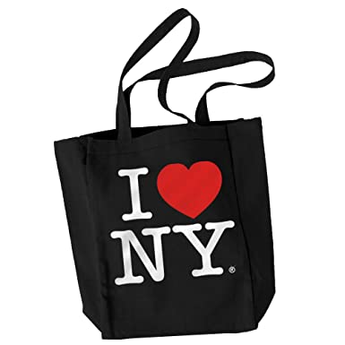 Amazon.com: Black Canvas I Love NY Tote Bag and New York Souvenir ...