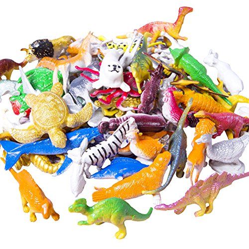 Trooer 60 Pack Ocean Sea & Jungle Animals Figurines, Mini Plastic Animal Toys Creatures Set, Kids Educational Shower Bath Animal Toys Cupcake Toppers Party Favors with Turtle Octopus Shark Dinosaur