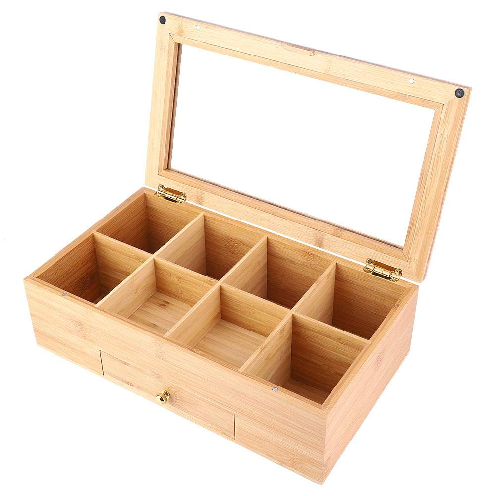 Wooden Tea Box 8 Compartment Storage Case Tea Coffee Container with Drawer Clear View Lid Great Gift Idea