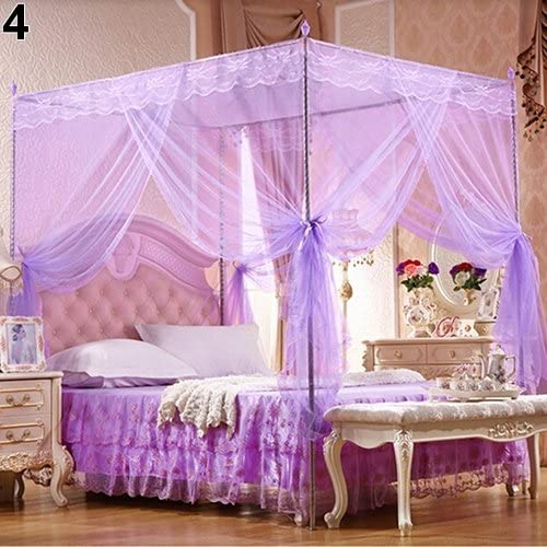Pink 78.74x59.05x78.74 Inches Full Queen Size Bed Canopy 4 Corner Post Bed Canopy Princess Queen Mosquito Net