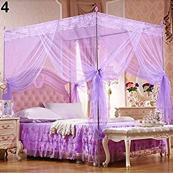 Beige Full Romantic Princess Lace Canopy Mosquito Net No Frame for Twin Full Queen King Bed for Home Use