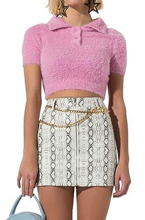 cb835e1f1 AKIRA Women s Fluffy Fuzzy 3 Button Retro 90s Clueless Cropped Polo Sweater  Top at Amazon Women s Clothing store