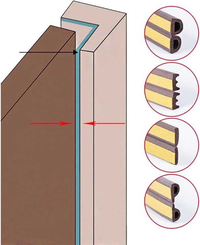 Braun, D Typ 5 Meter Mintice 5 Meter Schaum selbstklebend Fensterdichtung Fenster T/ürdichtungsstreifen Gummidichtung schalldicht Indoor Anti Kollision