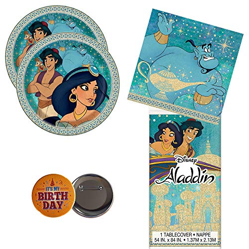 RDC Aladdin Party Supplies for 16 Guests - Plates, Napkins, tablecover + Birthday Button - Officially Licensed
