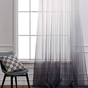 Cherhoo Ombre Semi Sheer Curtains Faux Linen Gradient Grey Curtains ,Grommet Top Window Treatment Voile Drapes for Girl Room and Bedroom (Sets of 2 Panels ,W52 × L84 Inch ,Grey)