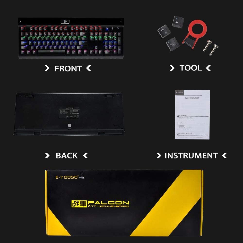 Anti-Ghosting with Blue Switches-for PC//MAC//Computer//Desktop Gamers Office Device Gaming Mechanical Keyboard Z-77 LED Backlit Keyboard 104 Keys