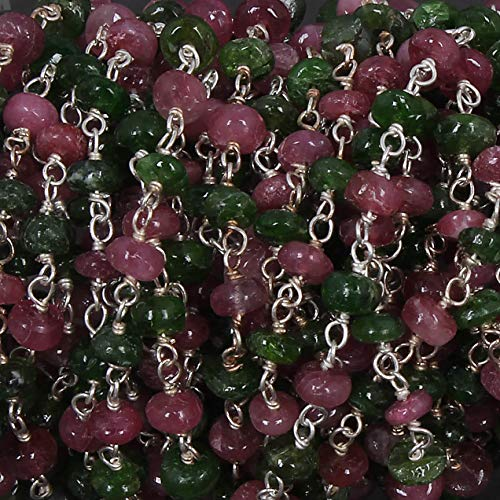 3 Feet Ruby & Chrome Diopside 3.5mm-4.5mm Smooth Beads Wire Wrapped 925 Sterling Silver Rosary Style Beaded Chain by LadoNarayani