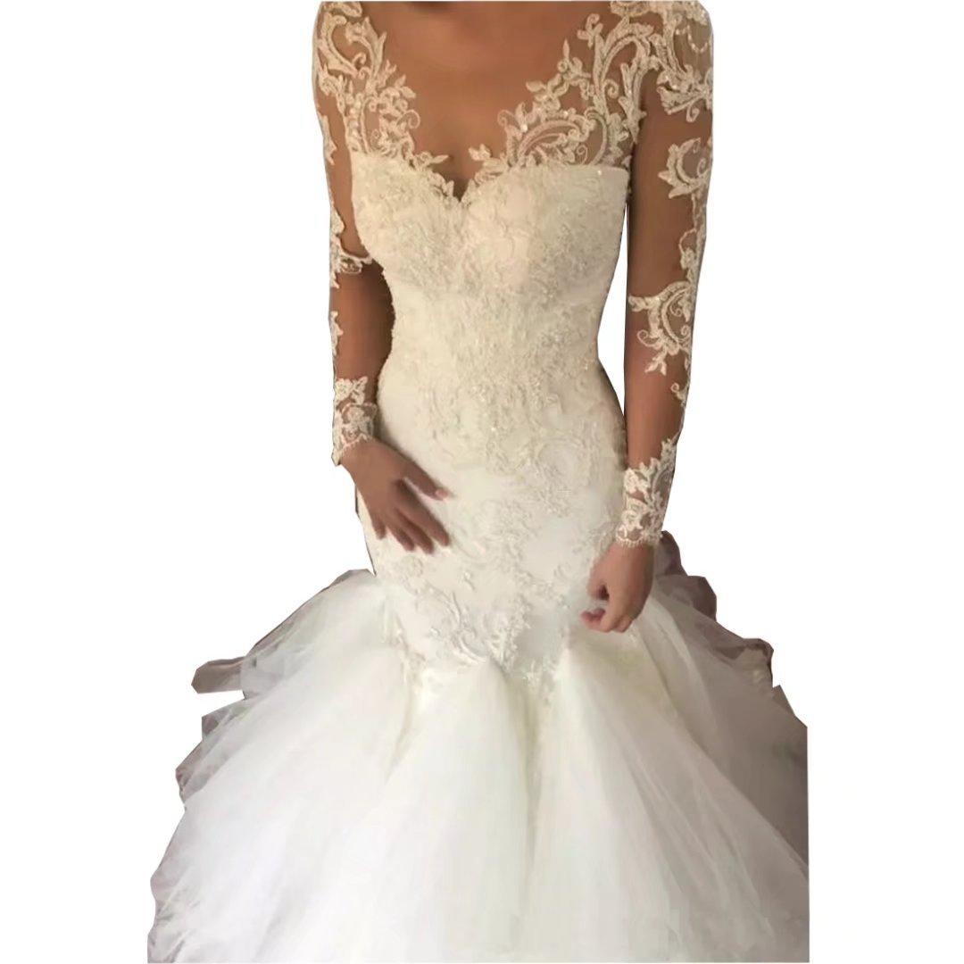 Chady Vintage V-Neck Mermaid Wedding Dress 2018 Illusion Neckline Lace Appliques Court Train Long Sleeve Bridal Gowns
